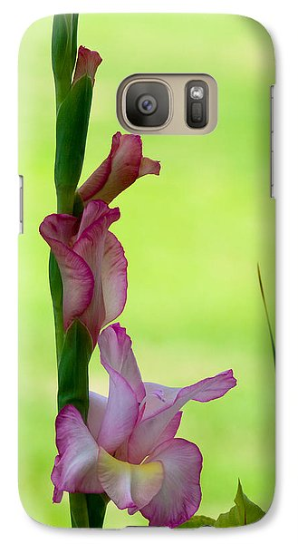 Galaxy Case featuring the photograph Gladiolus Blossoms by Ed Gleichman