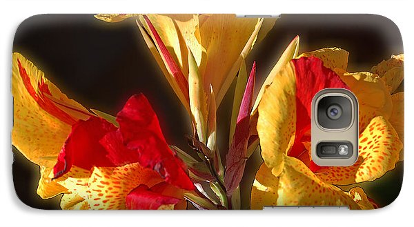 Galaxy Case featuring the photograph Glowing Iris by DigiArt Diaries by Vicky B Fuller