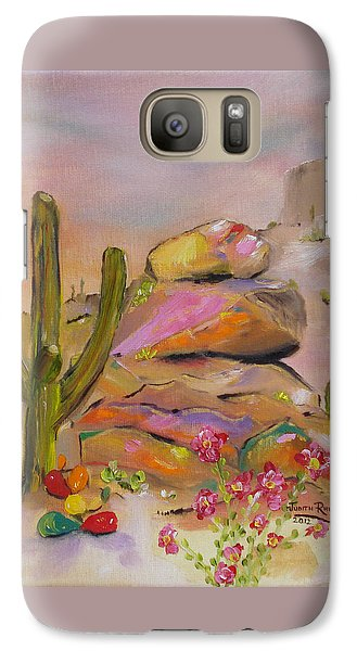 Galaxy Case featuring the painting Gold-lined Rocks by Judith Rhue