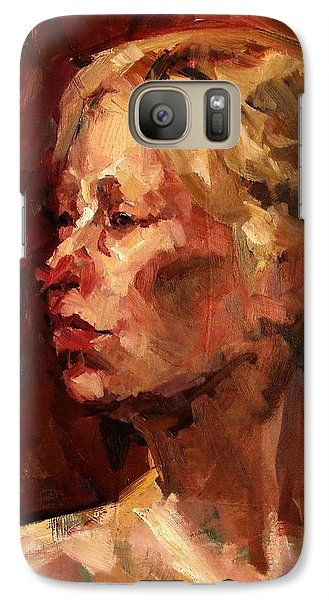 Galaxy Case featuring the painting Golden Hair Portrait Of Woman Head In Crimson Yellow Hardworking Fieldworker Mother Whos Thoughtful by M Zimmerman MendyZ