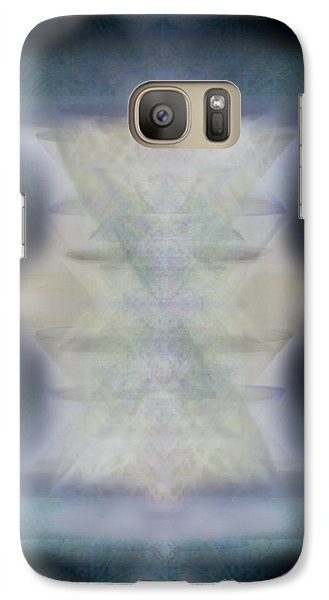 Galaxy Case featuring the digital art Golden Light Chalices Emerging From Blue Vortex Myst by Christopher Pringer
