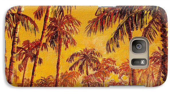 Galaxy Case featuring the painting Golden Palm Trees by Lou Ann Bagnall