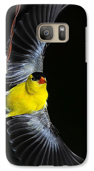 Galaxy Case featuring the photograph Goldfinch High Wire Act by Randall Branham