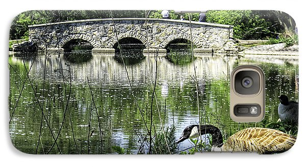 Galaxy Case featuring the photograph Goose And Bridge At Silver Lake by Tom Gort