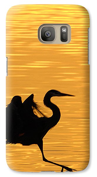 Galaxy Case featuring the photograph Great Blue Heron Landing In Golden Light by Randall Branham