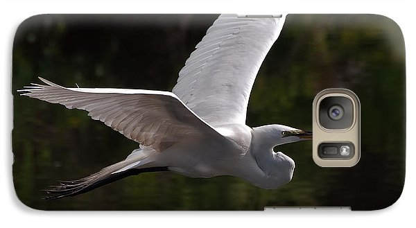 Galaxy Case featuring the photograph Great Egret Flying by Art Whitton