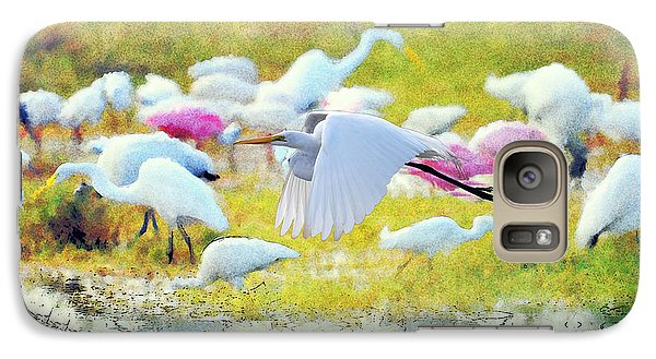Galaxy Case featuring the photograph Great Egret Flying by Dan Friend