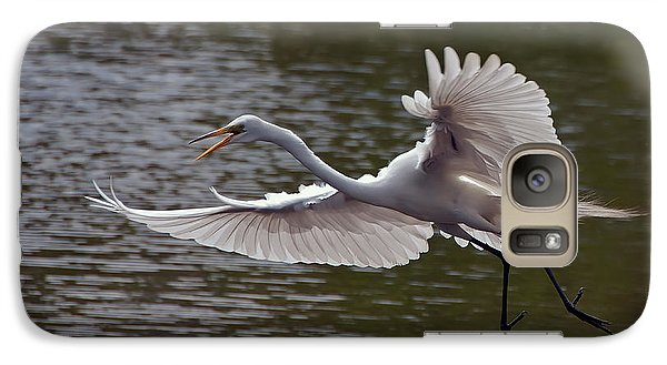 Galaxy Case featuring the photograph Great Egret In Flight by Art Whitton