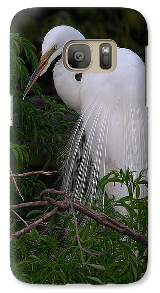 Galaxy Case featuring the photograph Great Egret Nesting by Art Whitton
