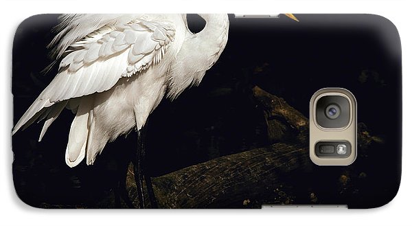 Galaxy Case featuring the photograph Great Egret Ruffles His Feathers by Art Whitton