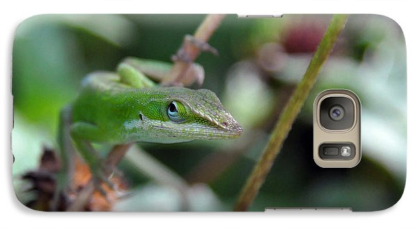 Galaxy Case featuring the photograph Green Anole by Kay Lovingood