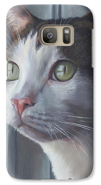 Galaxy Case featuring the painting Green Eyed Cat by Alecia Underhill