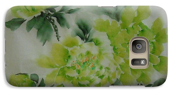 Galaxy Case featuring the painting Green Flower ----- 001 by Dongling Sun
