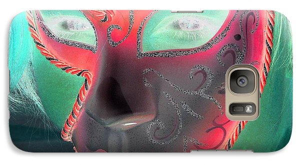 Galaxy Case featuring the photograph Green Girl With Red Mask by Rdr Creative