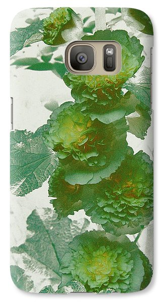 Galaxy Case featuring the photograph Green Hollyhocks by Tom Wurl