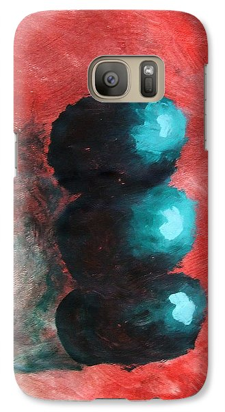 Galaxy Case featuring the painting Green Impressionist Apples Stacked On Abstracted Red Background Still Life Of Kitchen Food Dessert by M Zimmerman MendyZ
