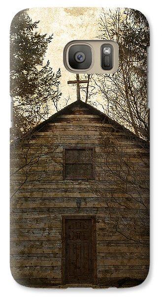 Grungy Hand Hewn Log Chapel Galaxy S7 Case by John Stephens