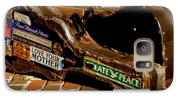 Galaxy Case featuring the photograph Guitar Case Messages by Lainie Wrightson