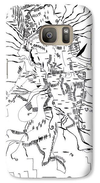 Galaxy Case featuring the drawing Gule Wamkulu - Malawi by Gloria Ssali