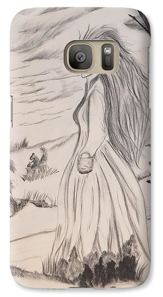 Galaxy Case featuring the drawing Halloween Witch Walk by Maria Urso