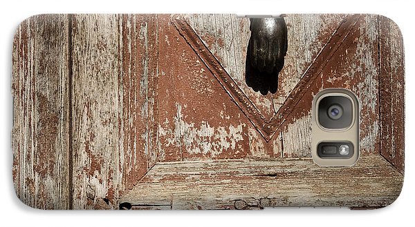 Galaxy Case featuring the photograph Hand Knocker And Weathered Wooden Doors by Agnieszka Kubica