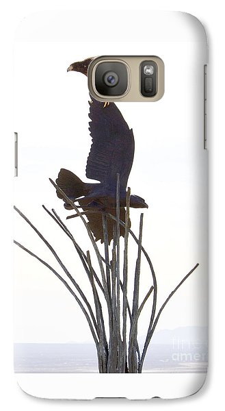 Galaxy Case featuring the photograph Hawk On Statue by Rebecca Margraf