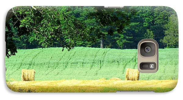 Galaxy Case featuring the glass art Hay Landscape by France Laliberte