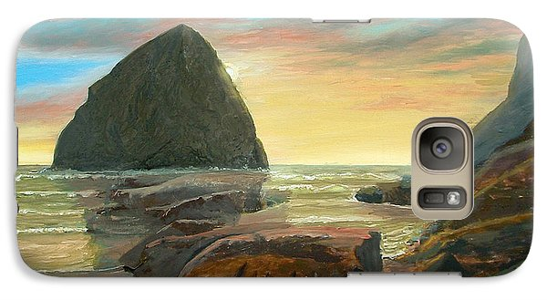 Galaxy Case featuring the painting Haystack Kiwanda Sunset by Chriss Pagani