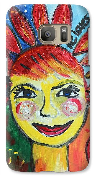 Galaxy Case featuring the painting He Loves Me  by Sladjana Lazarevic