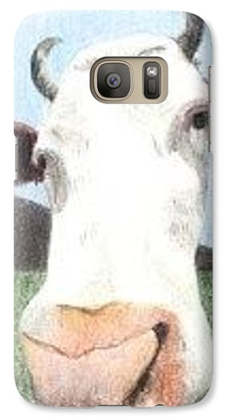 Galaxy Case featuring the drawing Hello Cow by Ana Tirolese