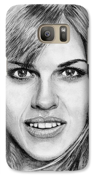 Galaxy Case featuring the drawing Hilary Swank In 2007 by J McCombie