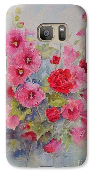 Galaxy Case featuring the painting Hollyhocks And Red Roses by Beatrice Cloake