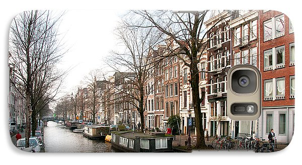 Galaxy Case featuring the digital art Homes Along The Canal In Amsterdam by Carol Ailles