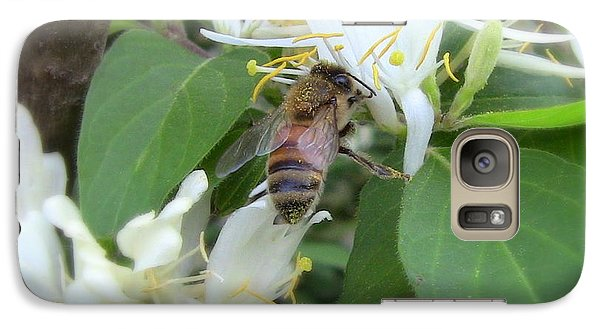 Galaxy Case featuring the photograph Honeybee Collecting Pollen by Renee Trenholm
