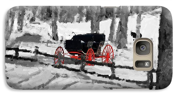Galaxy Case featuring the photograph Horse And Buggy - No Work Today - Abstract by Janice Adomeit