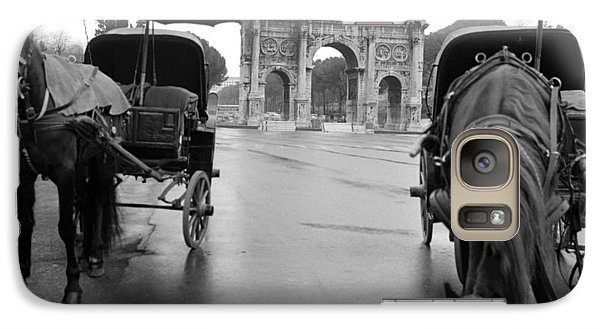 Galaxy Case featuring the photograph Horse Drawn Carriages In Rome by Emanuel Tanjala