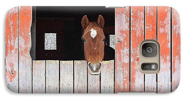 Galaxy Case featuring the photograph Horse In The Barn by Laurinda Bowling