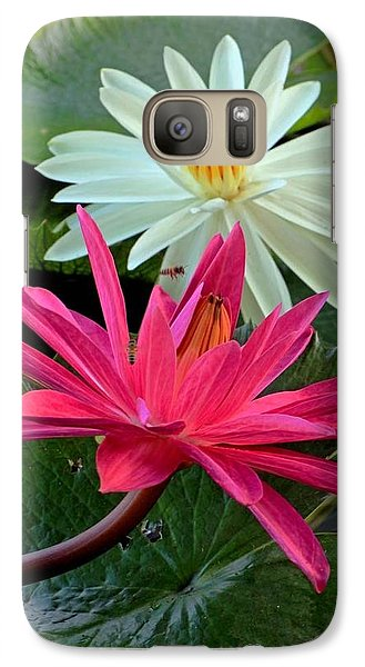 Galaxy Case featuring the photograph Hot Pink And White Water Lillies by Larry Nieland