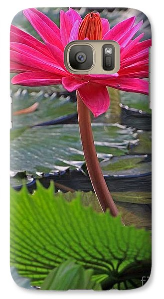 Galaxy Case featuring the photograph Hot Pink Waterlily by Larry Nieland
