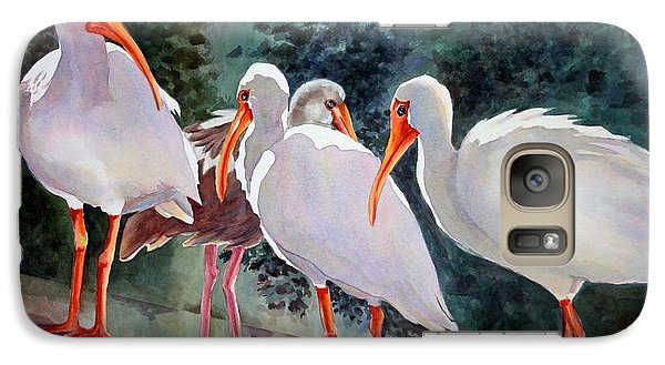 Galaxy Case featuring the painting Ibis - Youngster Among Us. by Roxanne Tobaison
