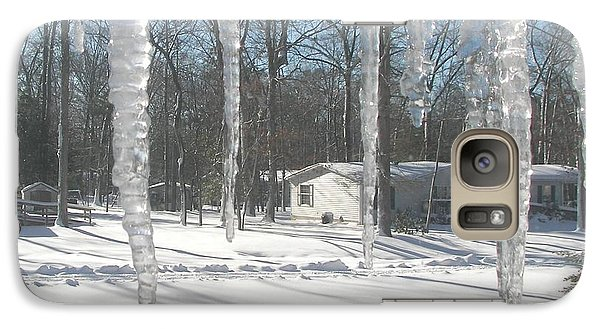 Galaxy Case featuring the photograph Icicles Through The Window Glass by Pamela Hyde Wilson