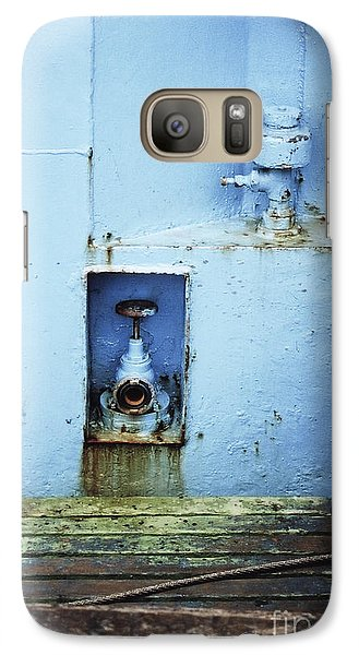 Galaxy Case featuring the photograph Industrial Detail In Turquoise Blue by Agnieszka Kubica