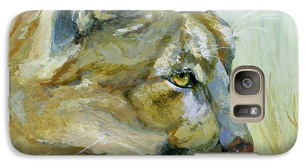 Galaxy Case featuring the painting Intense Cougar by Bonnie Rinier