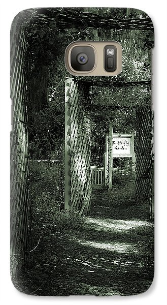 Galaxy Case featuring the photograph Into The Butterfly Garden Green by DigiArt Diaries by Vicky B Fuller