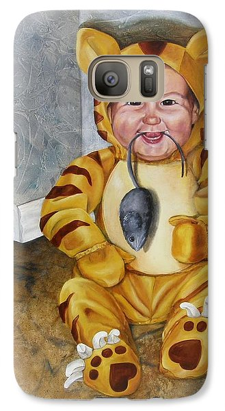 Galaxy Case featuring the painting James-a-cat by Lori Brackett