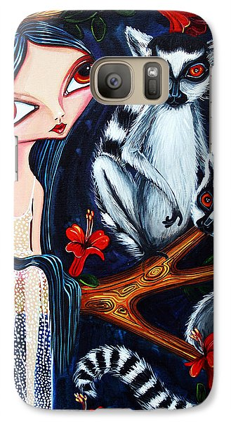 Galaxy Case featuring the painting Jane And The Lemurs by Leanne Wilkes