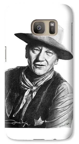Galaxy Case featuring the drawing John Wayne  Sheriff by Marianne NANA Betts