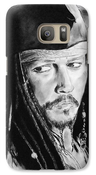 Johnny Depp As Captain Jack Sparrow In Pirates Of The Caribbean II Galaxy S7 Case by Jim Fitzpatrick