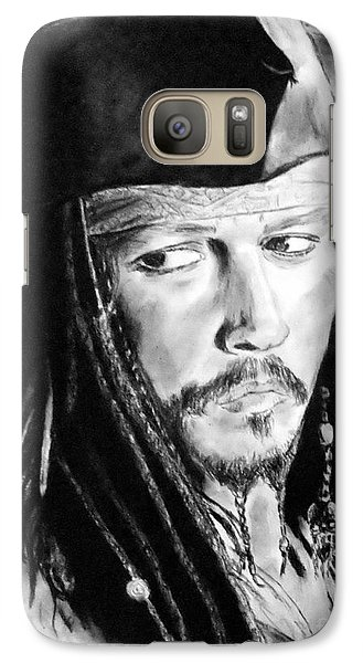 Johnny Depp As Captain Jack Sparrow In Pirates Of The Caribbean Galaxy S7 Case by Jim Fitzpatrick