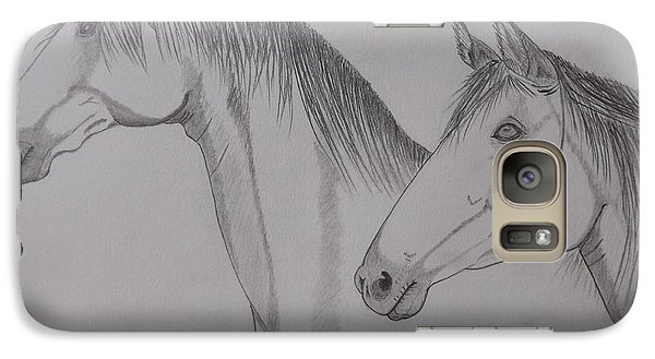 Galaxy Case featuring the drawing Keiger Mustangs by Gerald Strine